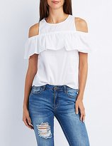 Charlotte Russe Poplin Cold Shoulder Ruffle Top