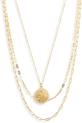 Argento Vivo Lion Medallion Layer Necklace