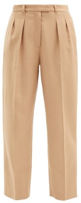 A.P.C. Cheryl High-rise Wool-flannel Straight Trousers - Camel