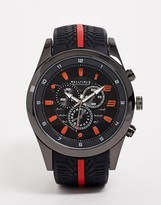 Bellfield mens chronograph watch with red highlight-Black