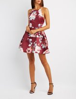 Charlotte Russe Floral Bib Neck Skater Dress