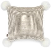 UGG Snow Creek Chunky-Knit Square Feather Pillow with Sheepskin Pom Poms