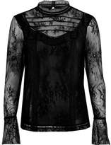 River Island Womens Black lace frill flared sleeve top