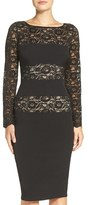 London Times Lace Block Stretch Sheath Dress