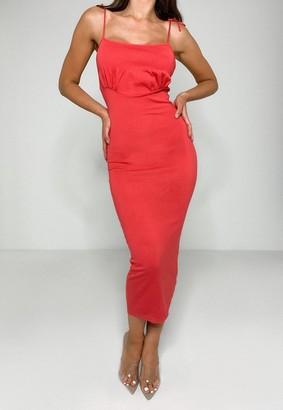 Missguided Coral Ruched Bust Knit Midi Dress