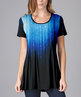 Lily Black & Blue Star Scoop Neck Tunic - Plus Too