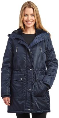 Fleet Street Women's Hooded Puffer Coat with Inner Faux Fur Lining