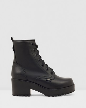 ROC Boots Australia - Women's Black Lace-up Boots - Chisel Leather Platform Ankle Boots - Size 36 at The Iconic