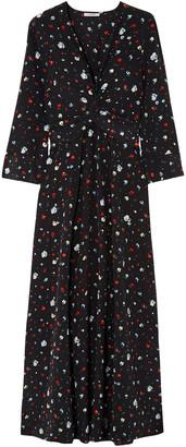 Ganni Nolana Twisted Floral-print Silk Crepe De Chine Maxi Dress