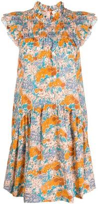 Sea Smocked-Yoke Floral Dress