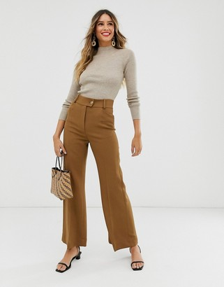 And other stories & wide leg trousers in camel tan-Brown