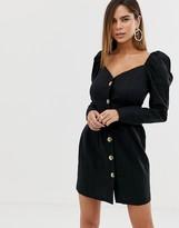 Asos Design DESIGN off shoulder button through mini dress with long sleeves