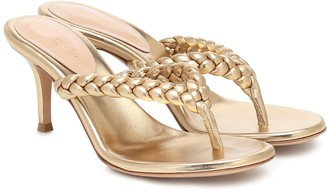 Gianvito Rossi Tropea 70 metallic leather thong sandals