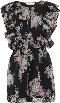 W118 By Walter Baker Paradis Ruffle-trimmed Floral-print Fil Coupe Georgette Playsuit