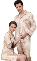 Wercan Man/Gentleman Satin Pajamas and Slipper Gift Set Sleepwear Loungewear Men's Nightgown Bath Long Sleeve Smooth Silky Feeling Satin Pajama SetSoft, silk-like 100% Satin