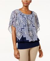 JM Collection Printed Flutter-Sleeve Top, Only at Macy's
