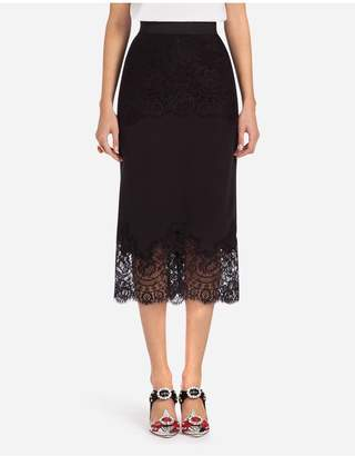 Dolce & Gabbana Lingerie Long Skirt In Crepe-De-Chine With Lace