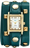La Mer Women's LMLW1010G Stainless Steel and Studded Leather Teal and Gold-Tone Wrap Watch