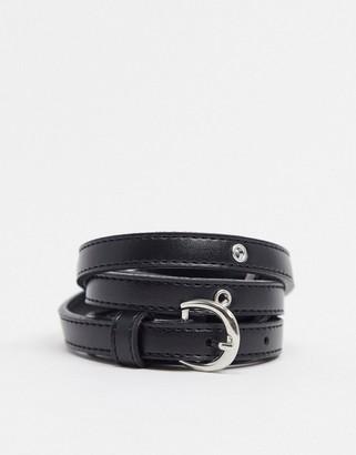 ASOS DESIGN skinny eyelet waist and hip belt in black