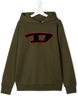Diesel TEEN logo embroidered hoodie