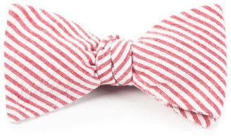 Tie Bar Seersucker Red Bow Tie