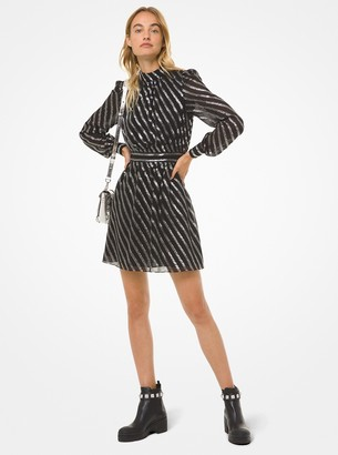 MICHAEL Michael Kors Metallic Stripe Silk Jacquard Dress