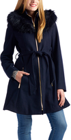 Laundry by Shelli Segal Classic Navy Faux Fur-Trim Hooded Jacket