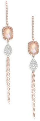 Meira T Diamond, Rose Quartz & Pink Mother-Of-Pearl Doublet Fringe Earrings