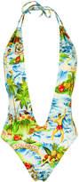 DSQUARED2 Hawaiian print plunge swimsuit