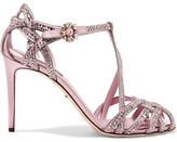 Dolce & Gabbana Keira Crystal-embellished Satin Sandals - Pink