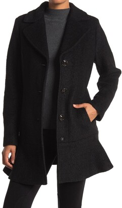 Kensie Wool Blend Flutter Hem Coat
