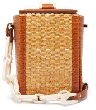 Nico Giani Cerea Lizard-embossed Leather And Straw Bag - Tan Multi