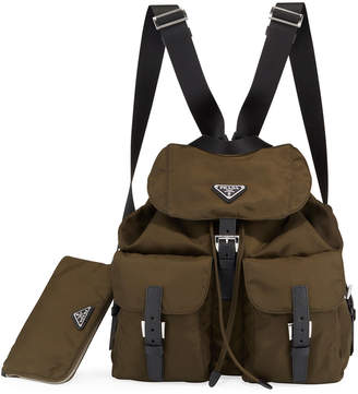 Prada Large Nylon Backpack w/ Detachable Pouch