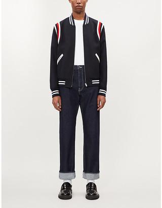 Sandro Teddy Band striped-trim twill jacket