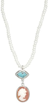 Chan Luu 2MM White Freshwater Pearl & Turquoise Necklace
