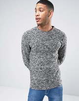Selected Plus Sweat with Crew Neck and Mixed Yarn Detail