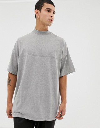 Asos DESIGN oversized jersey turtleneck with seam detail in gray marl
