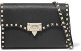Valentino The Rockstud Medium Textured-leather Shoulder Bag - Black