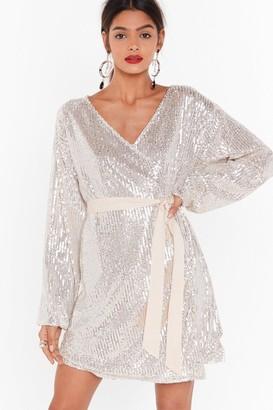 Nasty Gal Womens Born To Sequin Wrap Mini Dress - Beige - 6
