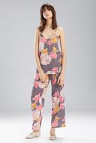 Natori Josie Enchanted Garden PJ Set Charcoal With Hibiscus