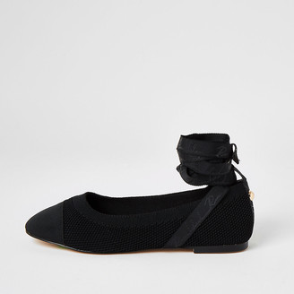 River Island Black tie ankle knitted ballet shoes