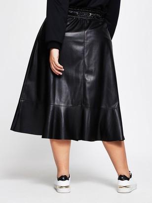 Ri Plus Elastic Waist PU Midi Skirt - Black