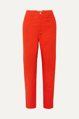 L.F.Markey - Johnny High-rise Tapered Stretch Jeans - Tomato red
