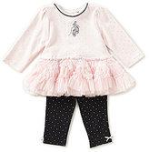 Little Me Baby Girls 3-12 Months Ballet Slipper Tutu Dress & Dotted Leggings Set