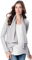 A Pea in the Pod Maternity Faux-Leather Drape-Front Jacket