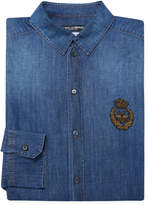 Dolce & Gabbana Men's Solid Embroidered Denim Sportshirt