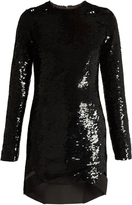 Anthony Vaccarello Long-sleeved sequin-embellished silk dress