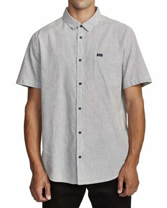 RVCA Men's Endless Seersucker Short Sleeve Woven Shirt