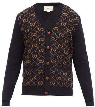 Gucci GG Logo-jacquard V-neck Wool Cardigan - Navy