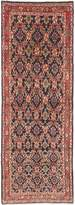 "Ecarpetgallery One-of-a-Kind Hamadan Hand-Knotted Runner 3'5"" x 9'9"" Wool Red/Navy Area Rug"
